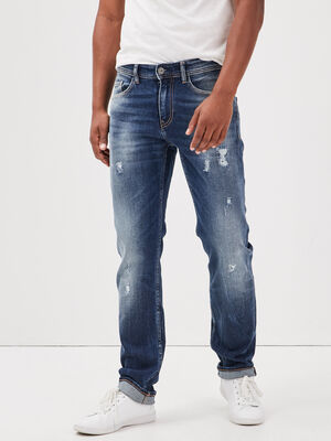 Jeans straight details destroy denim stone homme