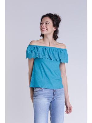 T shirt epaule bleu canard femme