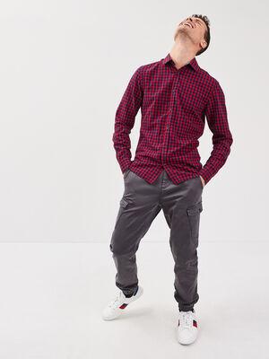 Pantalon cargo ceinture cordon gris fonce homme