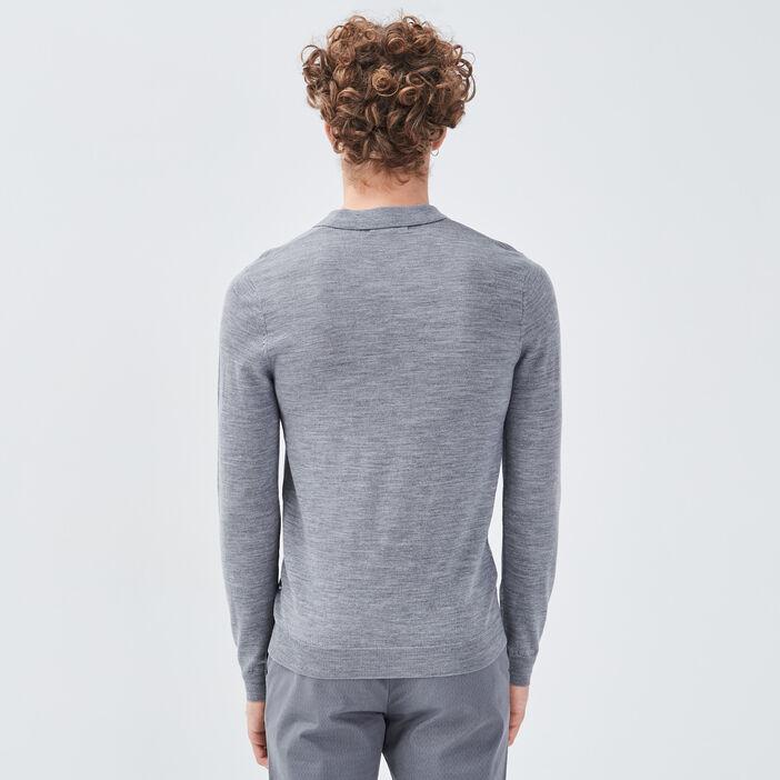 Pull 100% laine mérinos gris foncé homme