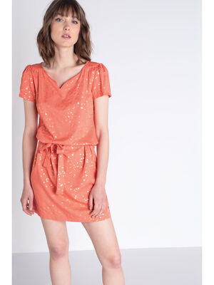 Robe droite a ceinture orange corail femme