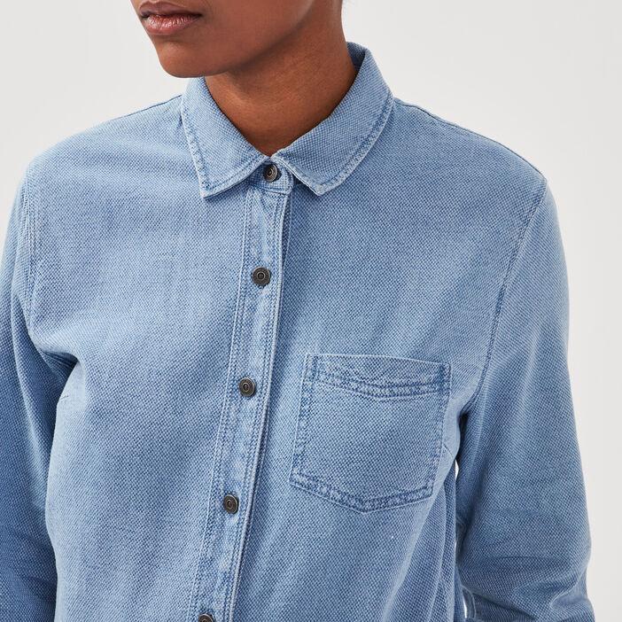 Combinaison droite en jean denim used femme