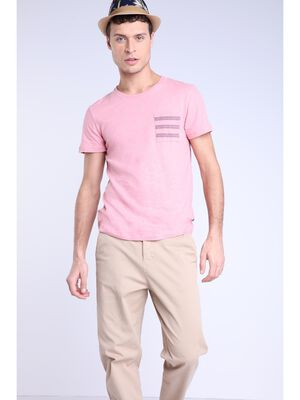 T shirt lin rose clair homme