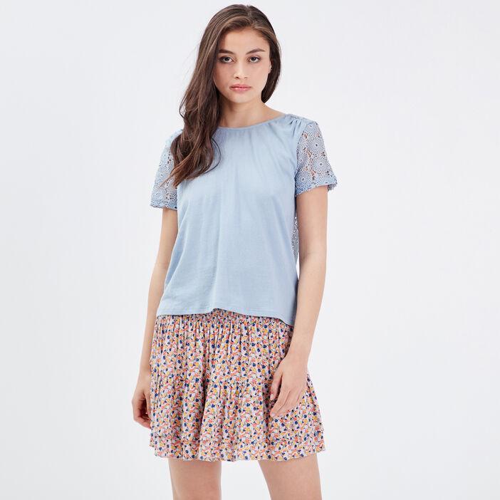 T-shirt manches courtes bleu clair femme