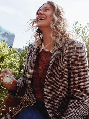 Manteau droit marron fonce femme
