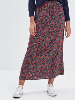 Jupe longue droite multicolore femme