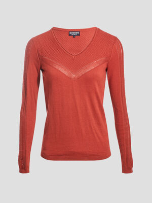 Pull manches longues ajoure orange fonce femme