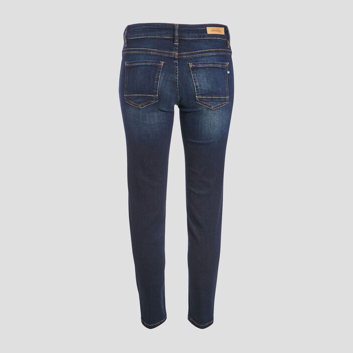 Jeans slim taille basse 7/8ème denim brut femme