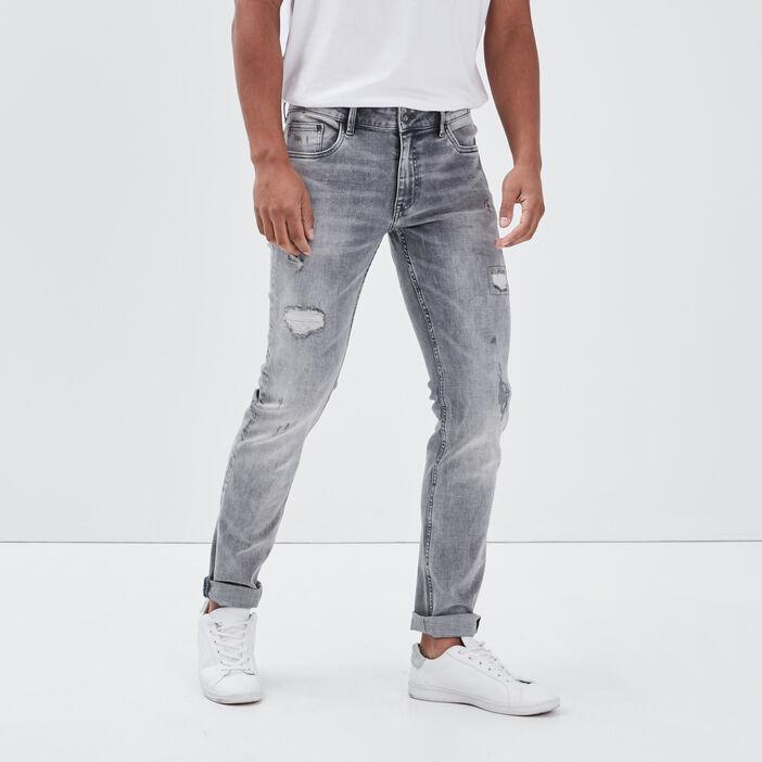Jeans slim effet destroy denim gris homme