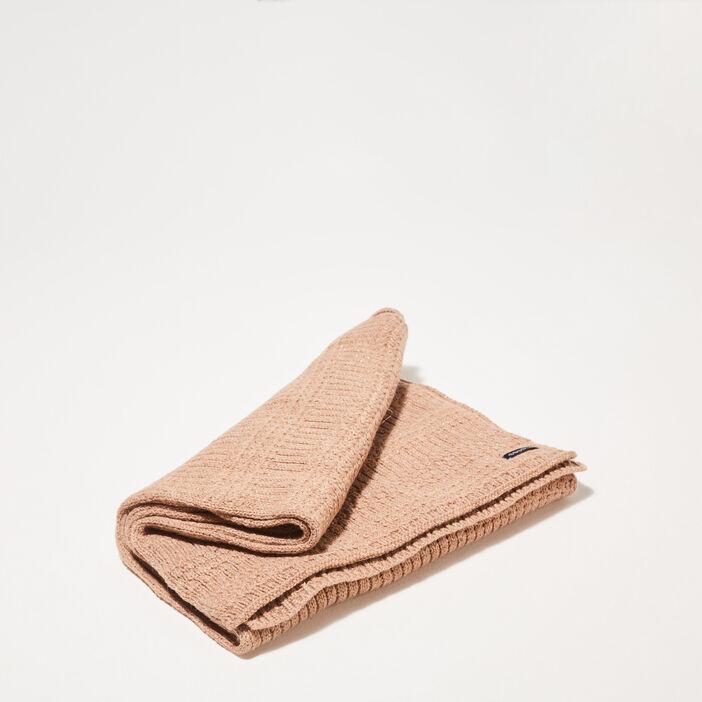 Écharpe tricotée marron femme
