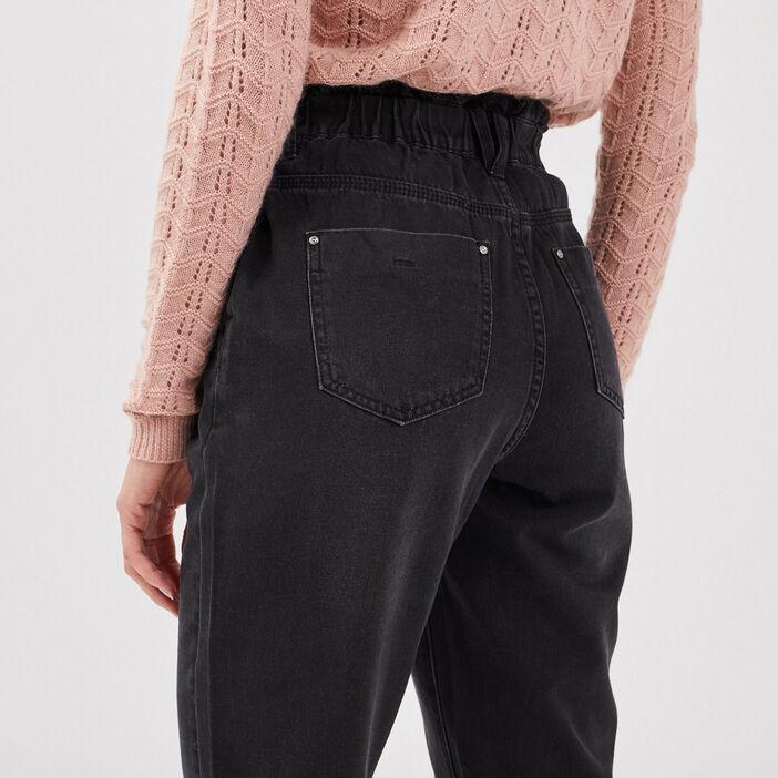 Jeans ample taille haute denim noir femme