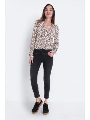 Jeans skinny details zippes denim noir femme