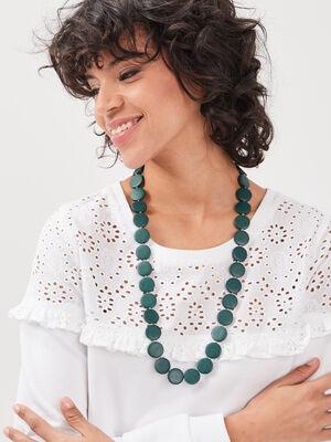 Collier de perles vert kaki femme