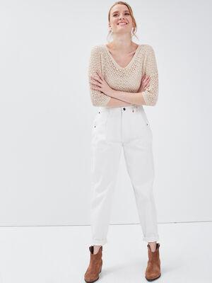 Jeans slouchy taille haute ecru femme