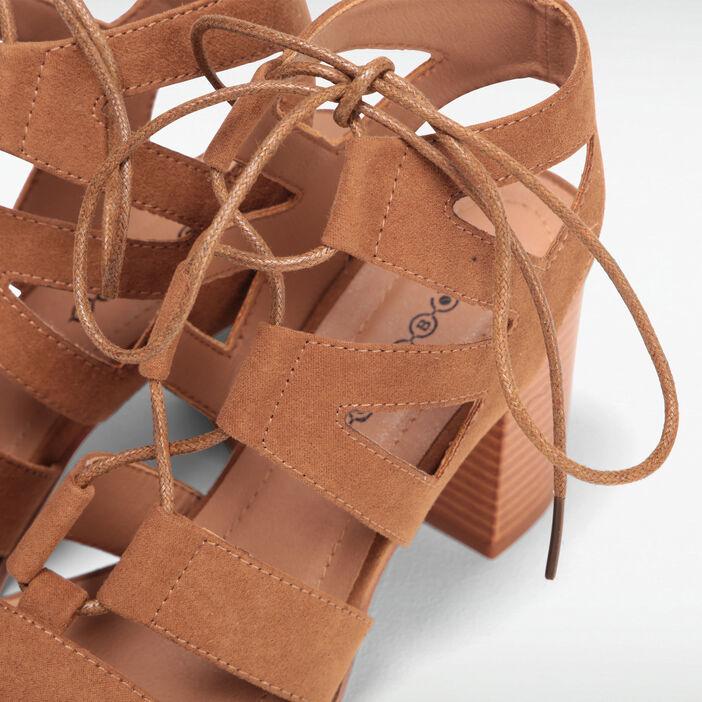 Sandales à talons ghillies orange foncé femme