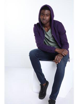 Gilet manches longues capuche violet fonce homme