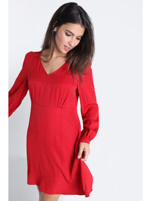 Robe evasee manches bouffantes rouge clair femme