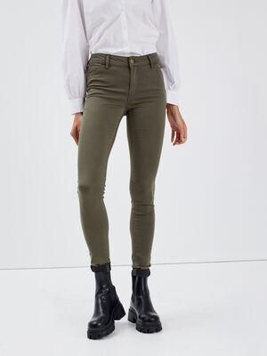 Pantalon Audrey  skinny push up vert kaki femme