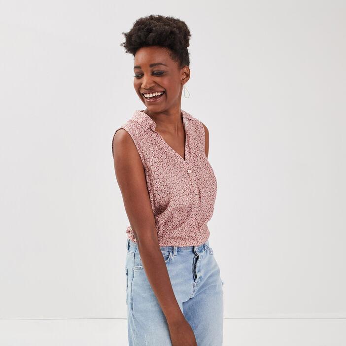 Chemise sans manches rose poudrée femme