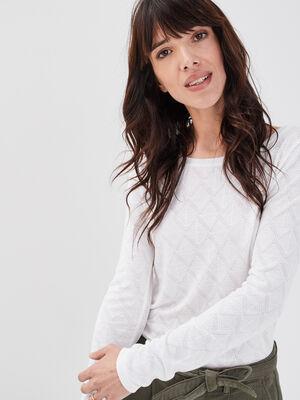 T shirt manches longues blanc femme