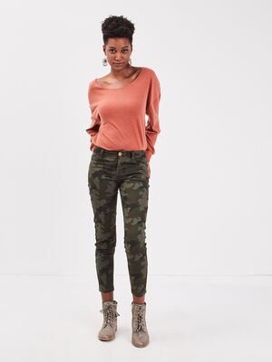Pantalon slim 78eme vert kaki femme