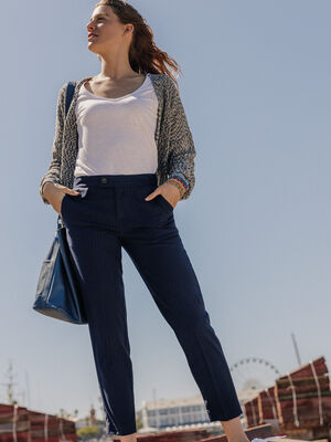Pantalon cigarette bleu fonce femme