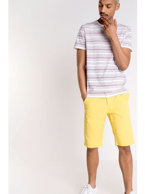 Bermuda chino droit coton jaune homme
