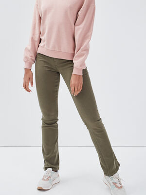 Pantalon bootcut vert kaki femme