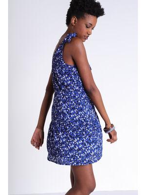 Robe cintree a noeuds bleu femme