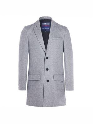 Manteau ajuste boutonne gris fonce homme