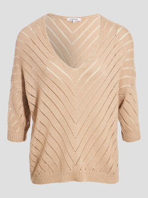 Pull manches 34 ajoure beige femme