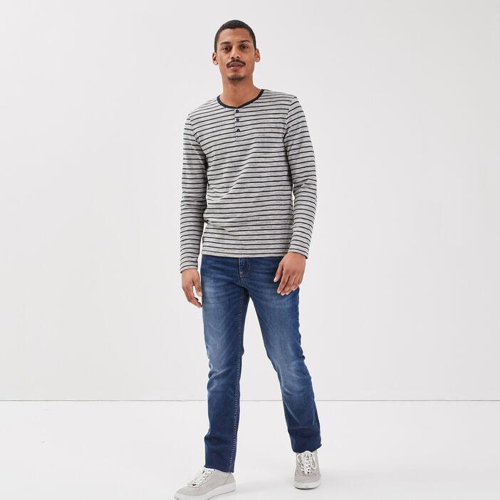 Jeans straight denim stone homme