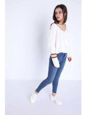 Jeans skinny used 5 poches denim stone femme