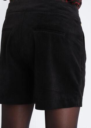 Short droit effet velours noir femme