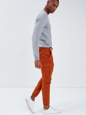 Pantalon cargo taille a cordon camel homme