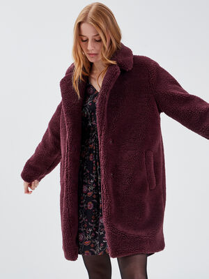 Manteau droit boutonne prune femme