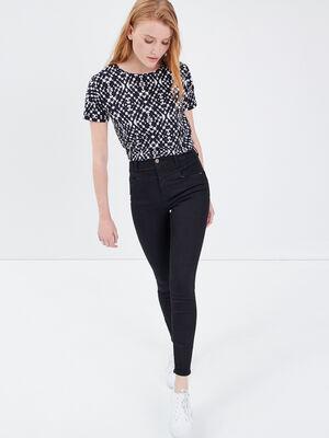 Jeans Brigitte  skinny taille haute denim noir femme