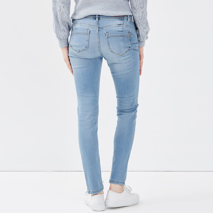 Jeans slim push up 7/8ème denim used femme