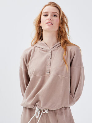 Sweat manches longues taupe femme