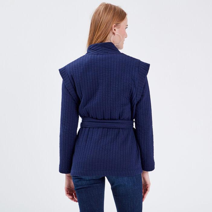 Gilet manches longues ceinturé bleu canard femme