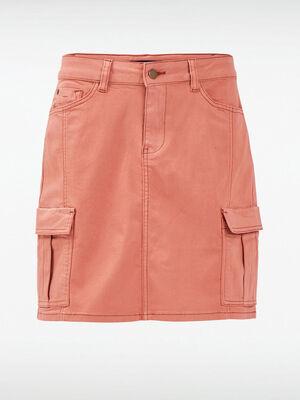 Jupe droite poches cotes vieux rose femme