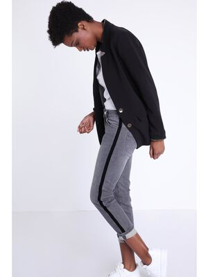Jeans slim denim used denim gris femme