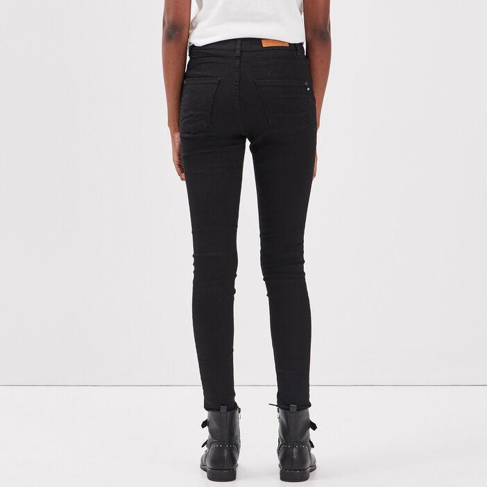 Jeans skinny taille haute denim noir femme