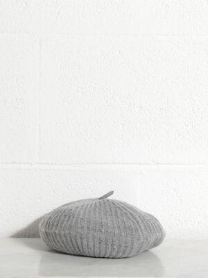 Beret tricote gris femme