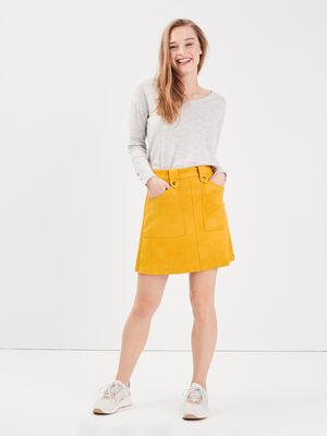 Jupe trapeze effet suedine jaune or femme