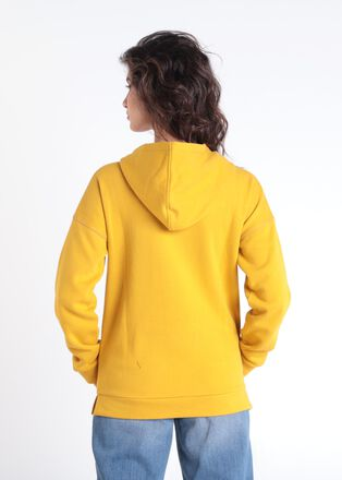 Sweat manches longues capuche jaune moutarde femme