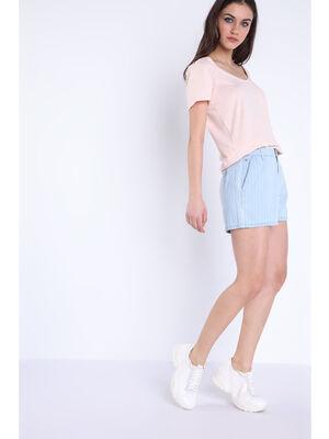 Short droit poches denim bleach femme