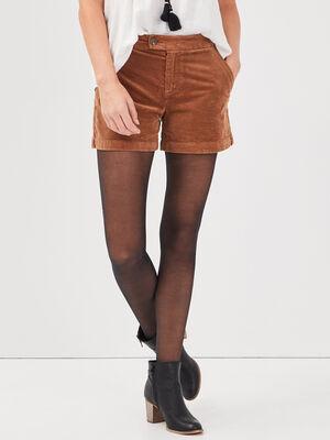 Short droit velours cotele marron femme