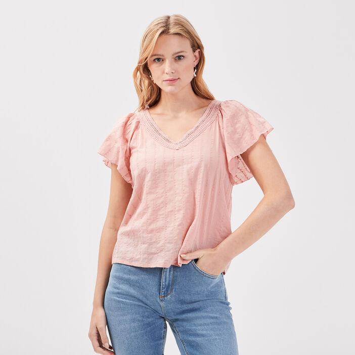 Blouse manches courtes rose pastel femme