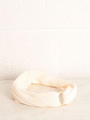 Bandeau plisse detail anneau ecru femme